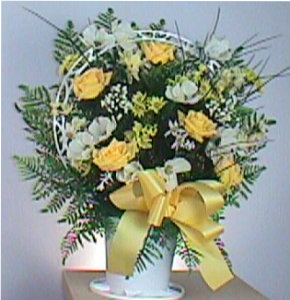 Basket of silk yellow roses in Camden AR, Camden Flower Shop