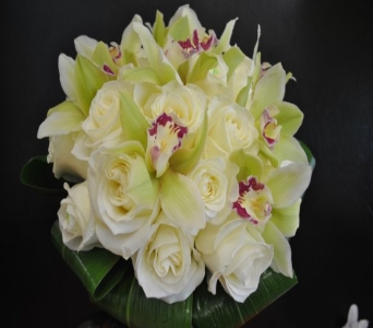 White Rose and Green Orchid Bouquet in Kissimmee FL, Golden Carriage Florist