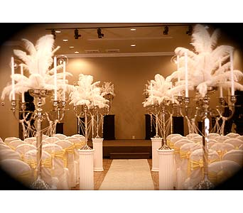 Feather Candelabra Aisle in Atlanta GA, Buckhead Blooms