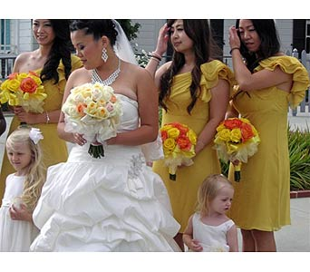 Wedding Party in West Los Angeles CA, Westwood Flower Garden