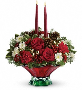 Teleflora's Always Merry Centerpiece in San Bruno CA, San Bruno Flower Fashions