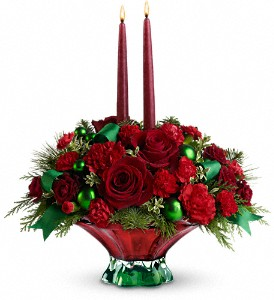 Teleflora's Joyful Christmas Centerpiece in San Bruno CA, San Bruno Flower Fashions