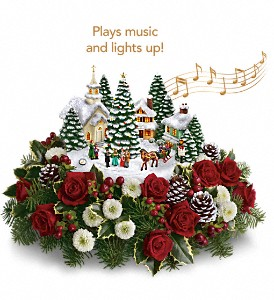 Thomas Kinkade's Christmas Carolers by Teleflora in Santa Clara CA, Cute Flowers
