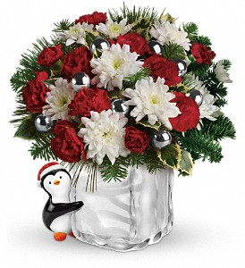 Teleflora's Send a Hug Penguin Bouquet in San Bruno CA, San Bruno Flower Fashions