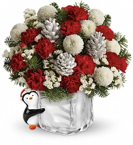 Teleflora's Merry Penguin Send a Hug in Santa Clara CA, Cute Flowers