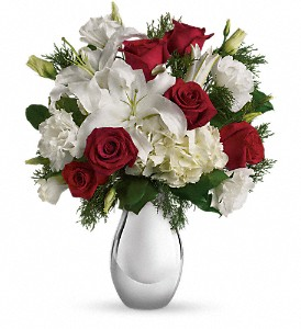 Teleflora's Silver Noel Bouquet in Redwood City CA, A Bed of Flowers