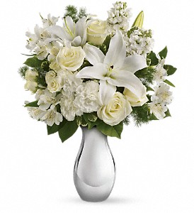 Teleflora's Shimmering White Bouquet in Pekin IL, The Greenhouse Flower Shoppe