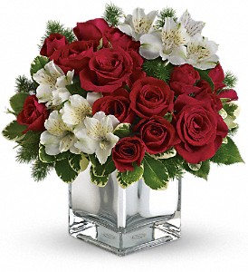 Teleflora's Christmas Blush Bouquet in Redwood City CA, A Bed of Flowers