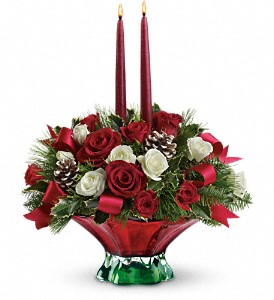 Teleflora's Colors of Christmas Centerpiece in Depew NY, Elaine's Flower Shoppe