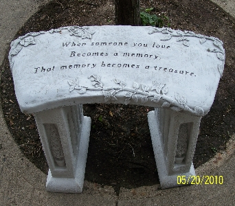 Concrete Garden Bench in Bellefontaine OH, A New Leaf Florist, Inc.