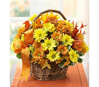 Autumn Flower Basket in New Paltz NY, The Colonial Flower Shop