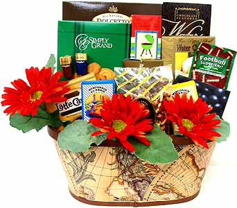 GF158 ''Around the World''  Gourmet Food Basket in Oklahoma City OK, Array of Flowers & Gifts