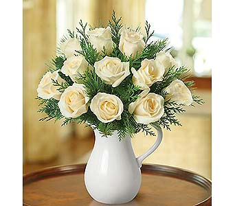 Winter White Pitcher of Roses in Palm Desert CA, Milan's Flowers & Gifts