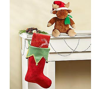 Holiday Stocking with Treat small box of assorted chocolates in Palm Desert CA, Milan's Flowers & Gifts