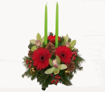 Twin Candle Lenox Centerpiece in Wading River NY, Forte's Wading River Florist