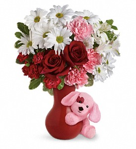 Send A Hug Puppy Love Bouquet with Red Roses in The Woodlands TX, Rainforest Flowers