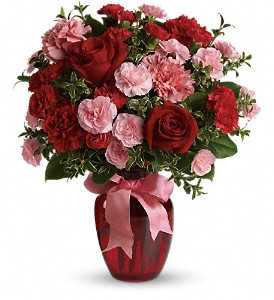 Dance with Me Bouquet with Red Roses in Bluffton IN, Posy Pot