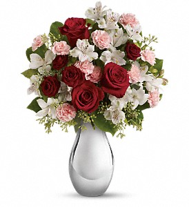 Teleflora's Crazy for You Bouquet with Red Roses in Niagara Falls NY, Evergreen Floral