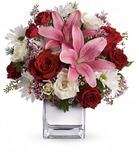 Teleflora's Happy in Love Bouquet in The Woodlands TX, Rainforest Flowers