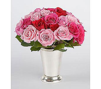 Silver Mint Julep Cup of Roses Bouquet in Bellevue WA, CITY FLOWERS, INC.