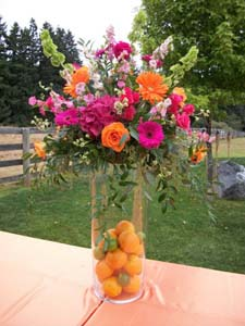Bright Wedding Table Arrangement in Arcata CA, Country Living Florist & Fine Gifts