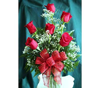 Half Dozen Freedom Roses in Fincastle VA, Cahoon's Florist and Gifts