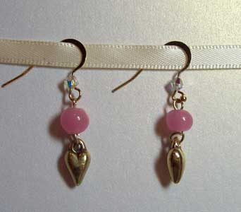 PInk and Gold Heart Earrings in Lawrence KS, Englewood Florist