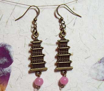 Antiqued Pink Pagoda Earrings in Lawrence KS, Englewood Florist