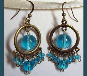 Aqua Chandelier Earrings in Lawrence KS, Englewood Florist