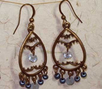 Antiqued Brass Teardrop Chandelier Earrings - Ligh in Lawrence KS, Englewood Florist