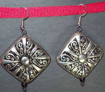 Silver & Black Ornate Earrings in Lawrence KS, Englewood Florist