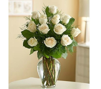 One Dozen 60cm White Roses In Vase in Winston Salem NC, Sherwood Flower Shop, Inc.