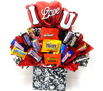 CB280   �I Love You� Candy Bouquet in Oklahoma City OK, Array of Flowers & Gifts