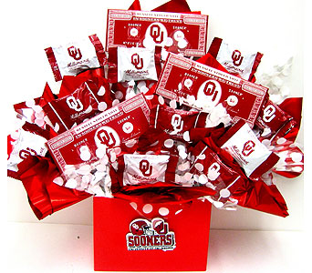 CBOU18 ''Sooner Chocolates''  OU Candy Bouquet in Oklahoma City OK, Array of Flowers & Gifts