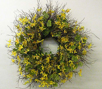 Silk Forsythia Wreath in Drexel Hill PA, Farrell's Florist