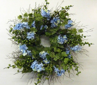 Blue Hydrangea  Wreath in Drexel Hill PA, Farrell's Florist