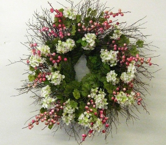 Pink/Cream Hydrangea Wreath in Drexel Hill PA, Farrell's Florist