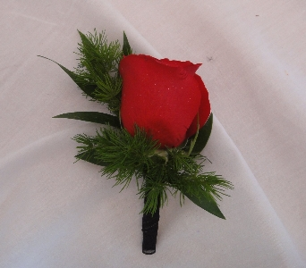 Red rose boutonniere in Greenville SC, Expressions Unlimited