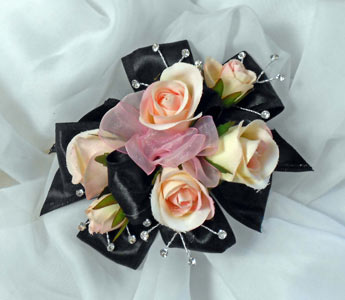 Sweetheart rose wrist corsage with bling in Royersford PA, Three Peas In A Pod Florist