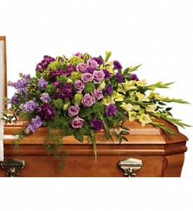 Reflections of Gratitude Casket Spray in Vermilion AB, Fantasy Flowers
