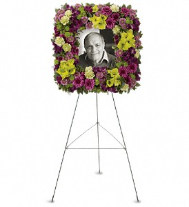 Mosaic of Memories Square Easel Wreath in Victoria BC, Petals Plus Florist
