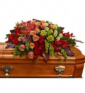 A Fond Farewell Casket Spray in Moorhead MN, Country Greenery
