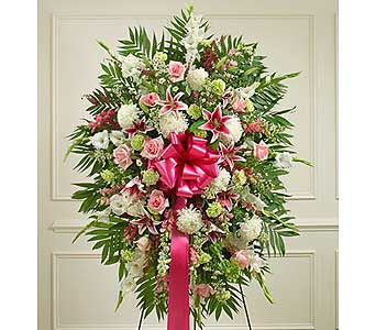 Pastel Sympathy Standing Spray in Jersey City NJ, Hudson Florist