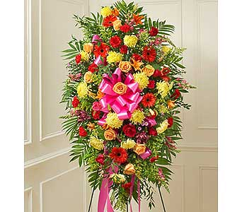 Bright Sympathy Standing Spray in Jersey City NJ, Hudson Florist