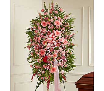 Pink Sympathy Standing Spray in Jersey City NJ, Hudson Florist