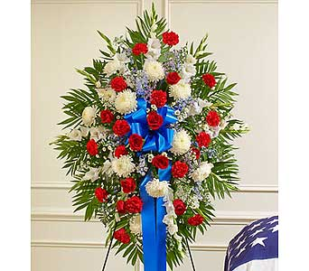 Red, White and Blue Sympathy Standing Spray in Jersey City NJ, Hudson Florist