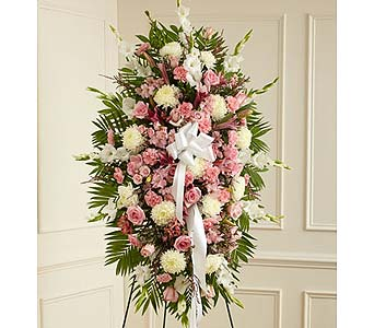 Pink and White Sympathy Standing Spray in Jersey City NJ, Hudson Florist