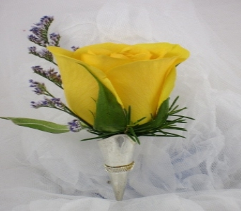 Sunny Yellow Boutonniere in Raleigh NC, North Raleigh Florist