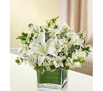 All White Cube Vase in Palm Desert CA, Milan's Flowers & Gifts