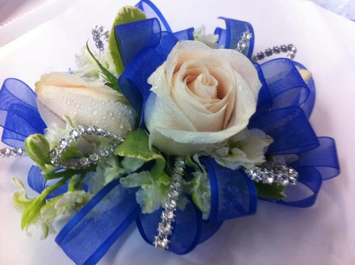 Royal blue Corsage in Modesto CA, Flowers By Alis